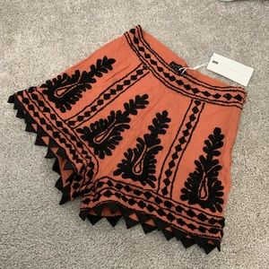 Endless Rose Rust and Black Embroidered Shorts